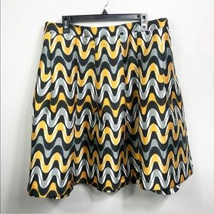 Lane Bryant Black & Gold Patterned Skirt